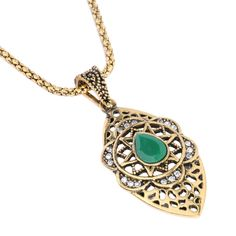Vintage Necklace For Women Gold plated Fine Jewelry Hollow Out Moon Crystal Flowers Long Necklaces Pendant