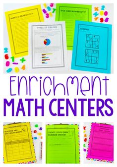 These 12 math center activities are perfect for early finishers or math enrichment. Best of all they are all NO PREP! Math Early Finishers, Third Grade Math, Fourth Grade, Enrichment Activities, Math Intervention, Basic Math, Math Notebooks, Math Workshop, Guided Math