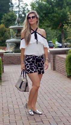 Spring and Summer Inspiration by TeodorasLookbook.com; frilled halter neck top and black/white print shorts