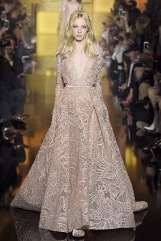 Sheer romance at Elie Saab Couture Fall 2015. [Photo: Giovanni Giannoni]