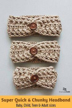 A stylish crochet headband you can wear all year round. Try it! Crochet Simple, Quick Crochet, Crochet Baby, Free Crochet, Chunky Crochet, Flower Crochet, Crochet Ear Warmer Pattern, Crochet Headband Pattern, Crochet Hooks