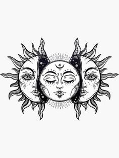'Vintage Solar Eclipse Sun and Moon' Sticker by MagneticMama – Tattoo Sketches & Tattoo Drawings Trippy Drawings, Art Drawings Sketches, Tattoo Sketches, Tattoo Drawings, Art Sketches, Tattoo Outline Drawing, Moon Sketches, Unique Drawings, Cool Drawings
