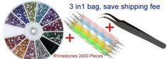 3 in 1:2400 Piece Rhinestones ,Nail Art Tweezer for Rhinestones,and 5X2 Way Marbleizing Dotting Pen Set. -- Find out more about the great product at the image link.
