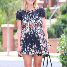 LAST CHANCE!! Black and Neon Floral Dress Black and Floral Dress. Excellent condition Pink Blush Dresses