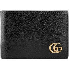 Gucci GG Marmont Leather Bi-Fold Wallet (€280) ❤ liked on Polyvore featuring men's fashion, men's bags, men's wallets, black, gucci mens wallet, mens leather wallets and mens leather bifold wallet