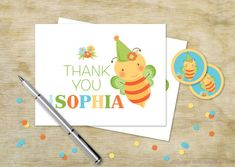 Custom Birthday Thank You for Girls | Bumblebee Personalized Thank You Card