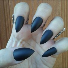 Matte Black Stiletto Nails Goth/Gothic Nails Press On Glue On False... (€9,63) ❤ liked on Polyvore featuring beauty products, nail care, nail treatments and nails