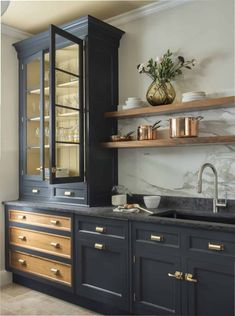 Dark Gray Kitchen Cabinets Trending for 2020 - Centered by Design Dark gray kitchen cabinets are trending and we are revealing a gorgeous new kitchen design featuring dark gray kitchen cabinets and open shelving. Dark Grey Kitchen Cabinets, Painting Kitchen Cabinets, Neutral Kitchen, Green Cabinets, Black Kitchens, Home Kitchens, Farmhouse Kitchens, Feng Shui, Interior Simple