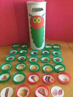 Very good idea to support this story of The Very Hungry Caterpillar. Many of my Little children like posting items, and looking for and identifying the fruit as we read the story and they post. We also talk about our likes and dislikes, our favourites and also about healthy food and treats.  I downloaded this activity from ...