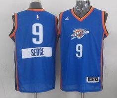 Oklahoma City Thunder #9 Serge Ibaka Light Blue 2014-15 Christmas Day Swingman Road Jersey 24.0$