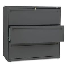 "HON® - 700 Series Three-Drawer Lateral File, 42w x 19-1/4d, Charcoal - Sold As 1 Each - Counterweight included, where applicable, to meet ANSI/BIFMA requirements. by HON Products. $716.69. HON® - 700 Series Three-Drawer Lateral File, 42w x 19-1/4d, CharcoalThree-part telescoping slide suspension. Lock secures both sides of drawer. Mechanical interlock allows only one drawer to open at a time to inhibit tipping. Leveling glides adjust for uneven floors. HON® ""One Key"" interc..."
