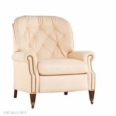 Furnitureland South   Leathercraft  Recliner - Heirloon classic style, creamy tufted leather, reclining chair   #Furnitureland