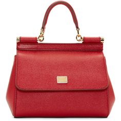 Dolce And Gabbana Red Leather Mini Miss Sicily Bag (€810) ❤ liked on Polyvore featuring bags, handbags, shoulder bags, bolsos, purses, bolsas, red leather shoulder bag, red leather purse, leather man bags and red shoulder bag