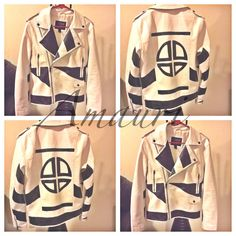 Hand painted By: Amauri  [white faux leather jacket]
