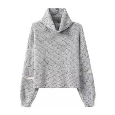 SheIn(sheinside) Grey High Neck Zipper Knit Sweater ($22) ❤ liked on Polyvore featuring tops, sweaters, grey, loose sweater, zipper sweater, gray sweater, zip sweater and long sleeve sweaters