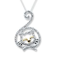 Diamond Cat Necklace 1/5 carat tw  Sterling Silver/10K Gold