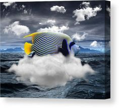 Angelfish Canvas Print featuring the mixed media Angelfish Out Of Water by Marvin Blaine