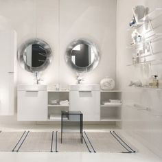 The Mirror Frame Creates a Beautiful Suffused Play of Refractions – Kartell All Saints Mirror Design by Ludovica and Roberto Palomba Contemporary Bathroom Accessories, Contemporary Wall Mirrors, Illuminated Mirrors, Small Wall Mirrors, Interior Decorating Tips, Creative Decor, Saints, Home Decor, Italy