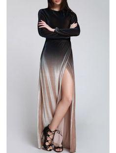 High Slit Ombre Maxi Velvet Dress - Black