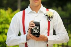 Red, White and Blue Wedding Ideas - Love the red suspenders! #weddings
