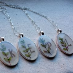 Initial jewelry personalized pressed flower necklace herb thyme botanical Pendant - resin jewelry spring summer garden