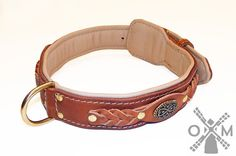 Tan Leather Dog Collar with Interior Nappa Padding - Limited Edition Collection (model OldMill-C43 Tan)