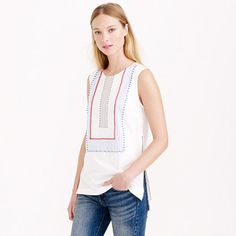 J.Crew - Sleeveless beaded zip top