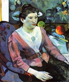 Paul Gauguin  Portrait de femme a la nature morte de Cezanne, 1890  Холст, масло. 65 x 55 см  The Art Institute of Chicago, USA