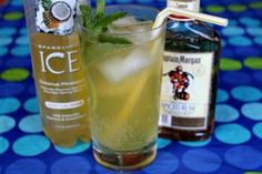 Skinny Ice Cocktails | Recipe Girl (2 servings) 1 bottle of Coconut- Pineapple Sparkling ICE beverage 2 shots spiced rum or coconut rum 2 glasses filled with ice cubes mint leaves for garnish, if desired