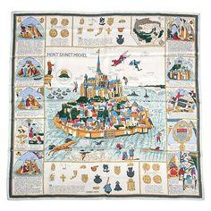 Erte Art, Hermes Vintage, Bandana Head Wraps, Mont Saint Michel, Head Wrap Scarf, Vintage Scarf, Silk Scarves, Color Mixing, Screen Printing