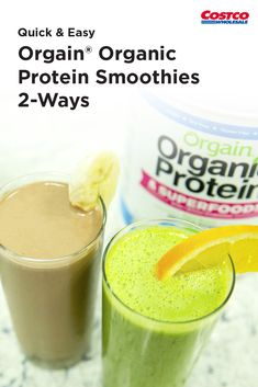 Orgain® Organic Protein Smoothies - Blend up two smoothies with unsweet. - Orgain® Organic Protein Smoothies – Blend up two smoothies with unsweetened vanilla almo - Protein Smoothies, Protein Desserts, Healthy Protein, Protein Foods, Smoothie Recipes, Healthy Snacks, Best Protein Shakes, Organic Protein, Fruit