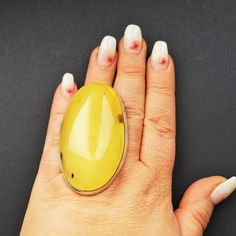 Huge Baltic Amber Ring, Genuine Baltic Amber Ring, Yellow Amber, Not Modified Amber Etsy Jewelry, Custom Jewelry, Jewelry Gifts, Jewelry Accessories, Chunky Rings, Amber Ring, Bold And The Beautiful, Presents For Mom, Jewel Box