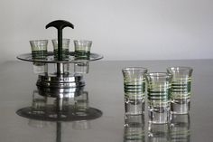 Vintage Chrome Shot Glass Holder with Bakelite by CanalSideStudio
