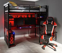 Buy X Rocker Gaming Bunk Bed - Black at Argos. Thousands of products for same day delivery or fast store collection. room bunk bed Buy X Rocker Gaming Bunk Bed - Black Computer Gaming Room, Gaming Room Setup, Gaming Rooms, Gaming Desk Diy, Best Gaming Setup, Gaming Chair, Gamer Bedroom, Bedroom Setup, Boys Bedroom Paint