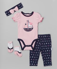 Look at this Navy Sailboat Bodysuit Set - Infant on #zulily today!