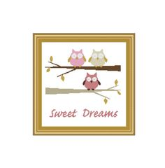 Owl Cross stitch pattern Sweat DreamsInstant by CrossStitchVillage