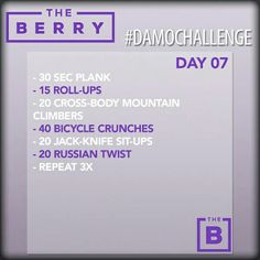 The berry workout day 7 month 3
