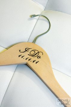 (I SOOOO want this!)    Personalized I Do Wedding Hanger by delovelydetails on Etsy, $15.00