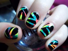 Easy nail art designs for short nails. Cool Easy Nail Designs, Cool Easy Nails, Cute Simple Nails, Short Nail Designs, Easy Nail Art, Cute Nails, Pretty Nails, Easy Designs, Neon Nails