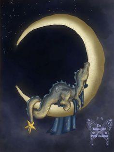 Baby Dragon Digital Painting Moon Dreams by bemusedart on Etsy, $12.00