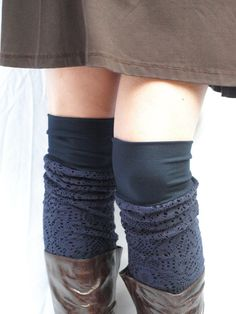 Navy bamboo knit  leg warmers by RunSystem63 on Etsy, $40.00