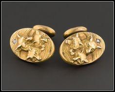 Antique Fox Cufflinks Art Nouveau Cufflinks by TrademarkAntiques