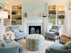 pale blue walls with light green ceiling and backs of bookshelves> Transitional Living-rooms from Liz Dickson on HGTV