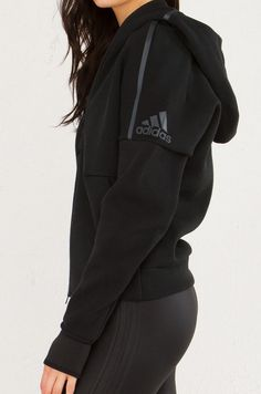 Adidas Zippered Hoodie With Thumb Holes in Black - ADIDAS ZNE Zippered Hoodie in Black You are in the right place about outfits ideas Here we offer yo - Athletic Outfits, Athletic Wear, Sport Outfits, Casual Outfits, Athletic Clothes, Nike Outfits, Fitness Style, Fitness Fashion, Black Fitness