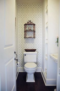 imperial trellis wallpaper, white, dark walnut floors | House of Turquoise: Whitney Cutler
