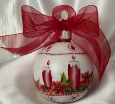 Hand Painted Christmas Ornament Cottage Chic Red Candles Shabby Lace HP