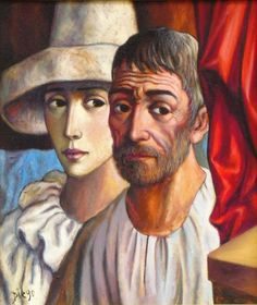 """#DiegoVoci rendered a variety of """"Pierrot"""" and """"Harelquin"""" characters in his artwork.  Shown here is """"Harlequin and Old Man"""" owned by Coop #Cooprider. The Oil on canvas measures 23 3/4 by 27 1/2 inches and is on the cover of """"The Beauty of DIEGO"""". View the 1st Book for free here: http://www.blurb.com/books/5419805-the-beauty-of-diego"""