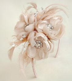 Blush Silk Chiffon Crystal Feathered Hairband