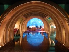 Entrance to the Al Maharan restaurant at the Burj Al Arab Hotel, Dubai.