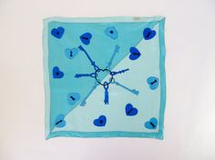 Vintage silk scarf Scarf in a slightly sheer lightweight silk :: Lovely novelty print of keys & hearts with keyholes :: Hand-rolled edges  Label :